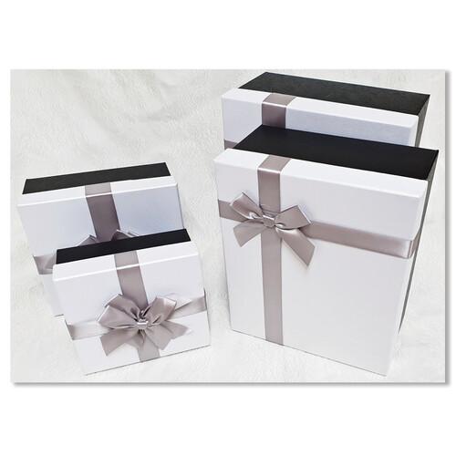 홀마크 리본 선물포장상자 - 화이트 (사이즈 4종택일)