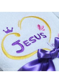 [말씀타올] 플라워 JESUS loves you 자수 세면수건