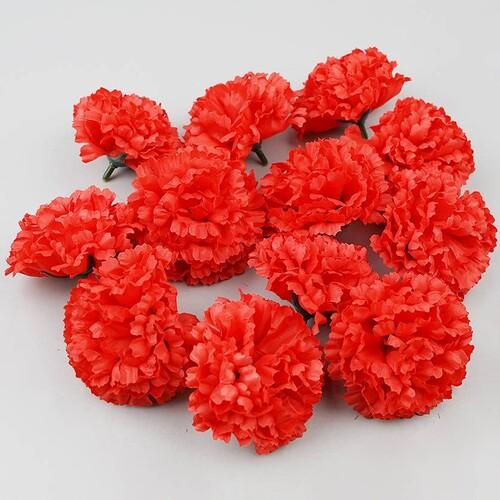 인조 조화꽃 카네이션 꽃머리 레드 7.5cm 12개 세트
