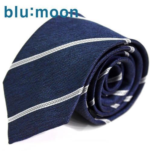 [blu:moon] 블루문넥타이 - 비버 네이비화이트 7cm