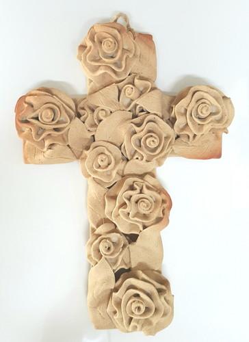 도자기 장미 십자가 - 베이지