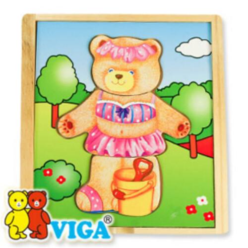 비가 원목 패션 퍼즐 - 꼬마 곰순이