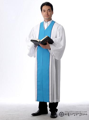 앞단라인 목사가운_흰색(B01-011)