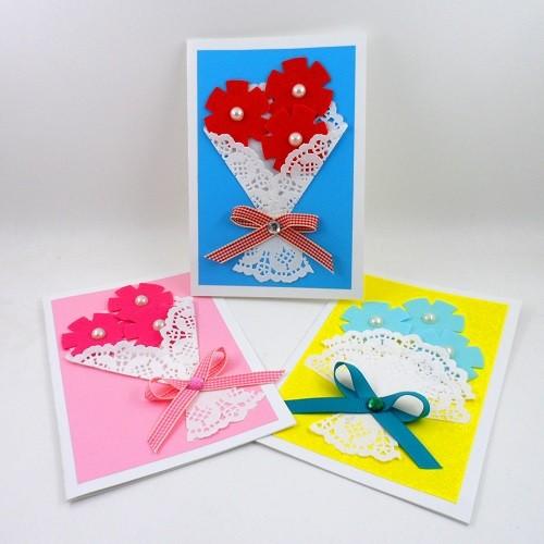 [만들기패키지] 도일리페이퍼 꽃다발카드 5인용