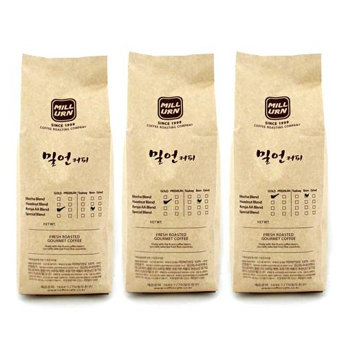 밀언카페 대용량 커피메이커 전용 원두/가루 3종, 여과지(필터)