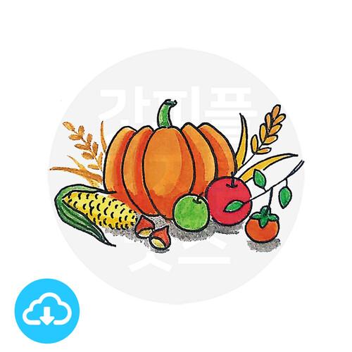 디지털 그림자료 1 추석,추수감사절 이미지 by 해피레인보우 / 이메일발송(파일)