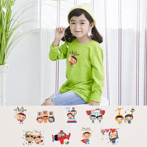 국내산 30수 순면 라운드 티셔츠 긴팔 _ 아트 디자인9종(국내산)