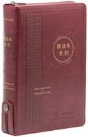 중국어 톰슨 주석성경 특대 단본 (색인/지퍼/PU소재/자주색)
