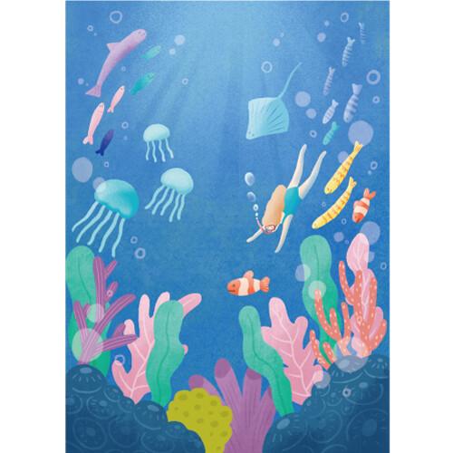 여름배경현수막(바다_물고기)-507 ( 100 x 140 )