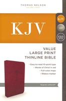 KJV: Value Thinline Bible, Large Print, Imitation Leather, Burgundy, Red Letter Edition