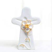 십자가스탠드 샤론의 꽃 탁상용 도자기 십자가