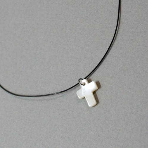 자개 십자가 목걸이