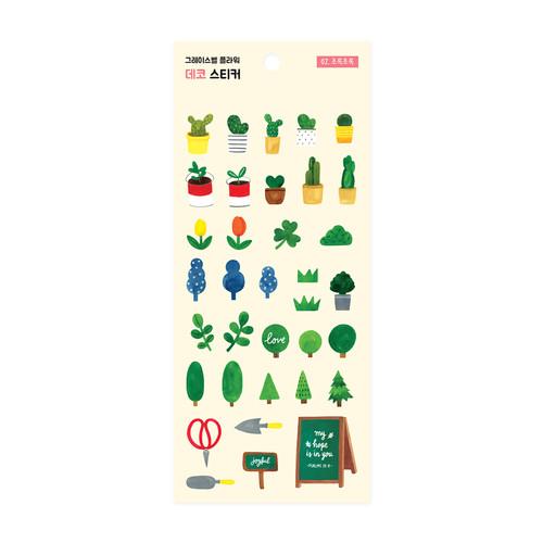 그레이스벨 플라워 데코 스티커 02.초록초록