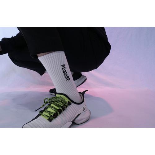 RE:stoRE logo needlepoint socks