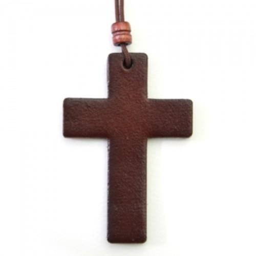 가죽 십자가 목걸이 - 대 (체리)