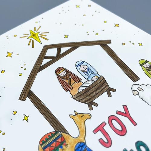 하베스터 크리스마스 카드 - 아기예수나셨네 (DIY 컬러링 카드)
