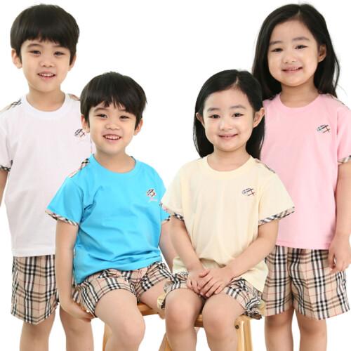 국내 생산 명품체크무늬 반팔 티셔츠