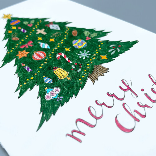 하베스터 크리스마스 카드 - 풍성한트리 (DIY 컬러링 카드)