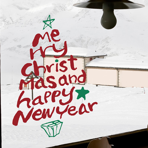 (크리스마스 스티커)캘리 타이포 트리