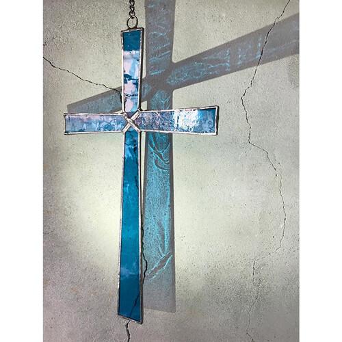 스테인드글라스 벽걸이 십자가 - 청록 / 투명