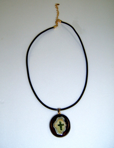 색유리 십자가 도제 목걸이(소_26cm)