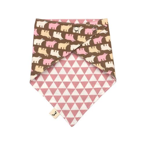 하라로이 양면 스카프빕 핑크곰