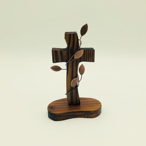 탁상용 수공예 나무십자가 (브라운큰잎)