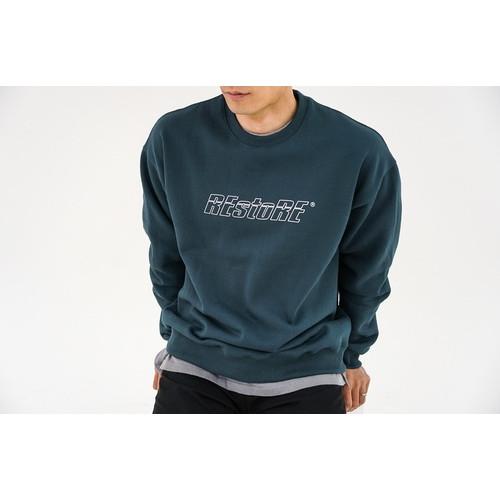 크루넥 기모 스웨트 셔츠 (청록)