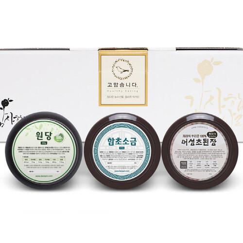 단짠 혼합 3종세트 (원당-함초굵은소금-된장) (400g~500g)