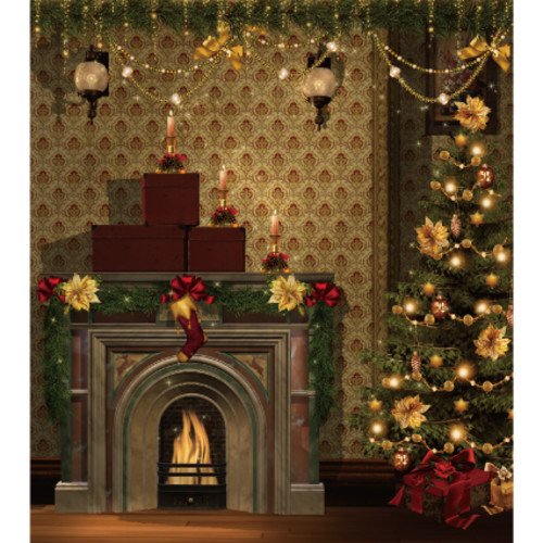 크리스마스현수막(벽난로)-769  ( 160 x 180 )
