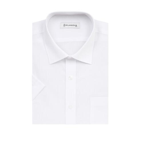 밀라노바_레귤러핏_반소매_화이트 와이셔츠_일반핏 흰색 드레스셔츠